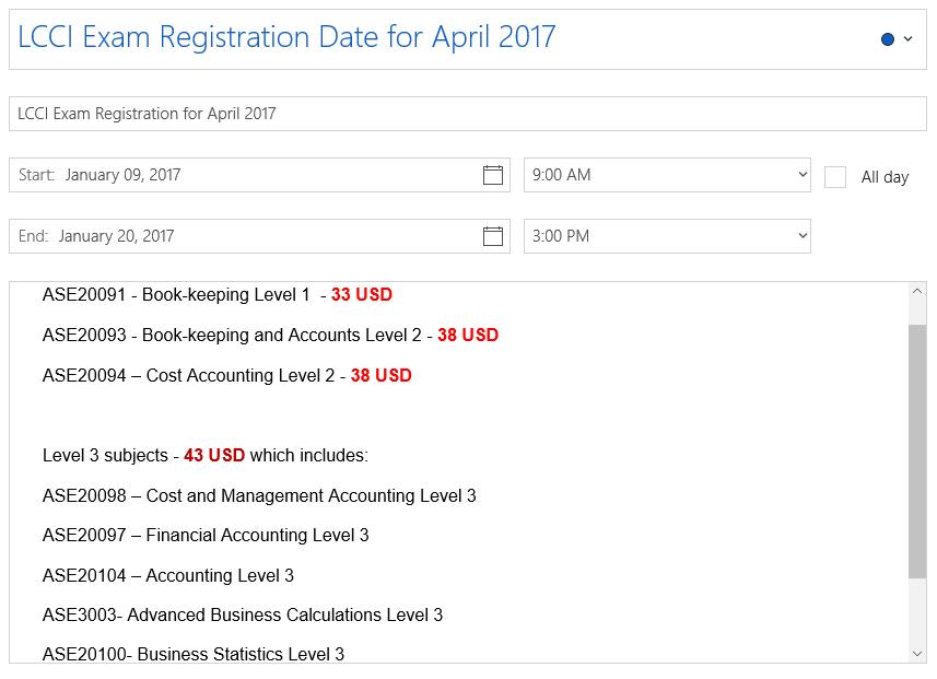 LCCI Exam Registration for April 2017